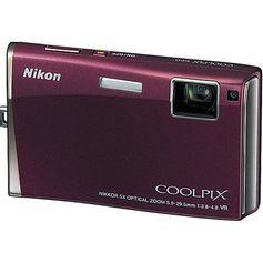 Camera-Digital-Nikon-Coolpix-S60-10-Megapixels-Zoom-Otico-5x--LCD-35--Touch-Screen--Borgonha-