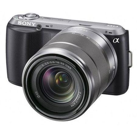 Camera-Digital-Sony-Alpha-NEX-C3K-com-Lente-18-55-mm-16.2-Megapixels--LCD-3--Panoramica-3D-Preta