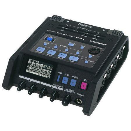 Gravador Digital de Campo Roland R-44 Portátil com 4 Canais XLR e TRS