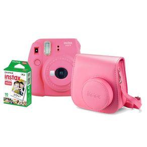 Kit-Camera-Instantanea-Fujifilm-Instax-Mini-9-Rosa-Flamingo-com-Bolsa-e-Filme-Instantaneo-para-10-Fotos