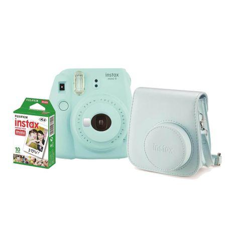 Kit-Camera-Instantanea-Fujifilm-Instax-Mini-9-Azul-Aqua-com-Bolsa-e-Filme-Instantaneo-para-10-Fotos