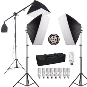 Kit-de-Iluminacao-para-Estudio-Fotografico-com-Softboxes-Girafa-e-Tripes-de-Iluminacao--110V-