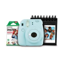 Kit-Camera-Instantanea-Instax-Mini-9-Fujifilm-com-Porta-Fotos-e-Filme-10-Poses---Azul-Acqua