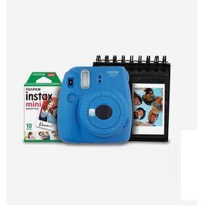 Kit-Camera-Instantanea-Instax-Mini-9-Fujifilm-com-Porta-Fotos-e-Filme-10-Poses---Azul-Cobalto