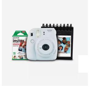 Kit-Camera-Instantanea-Instax-Mini-9-Fujifilm-com-Porta-Fotos-e-Filme-10-Poses---Branco-Gelo