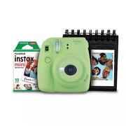 Kit-Camera-Instantanea-Instax-Mini-9-Fujifilm-com-Porta-Fotos-e-Filme-10-Poses---Verde-Lima
