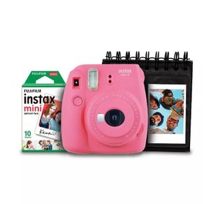 Kit-Camera-Instantanea-Instax-Mini-9-Fujifilm-com-Porta-Fotos-e-Filme-10-Poses---Rosa-Flamingo