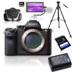 Kit-Sony-Alpha-a7RII-Mirrorless---Monitor-5.6---Tripe-de-Video---Bolsa---Bateria-Extra-e-Cartao-64Gb