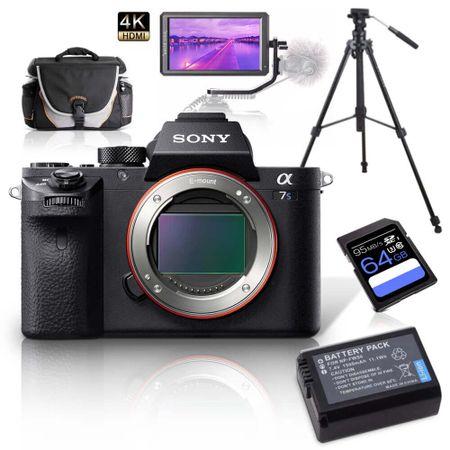Kit-Sony-Alpha-a7sII-Mirrorless---Monitor-5.6----Tripe-de-Video---Bolsa---Bateria-Extra-e-Cartao-64Gb