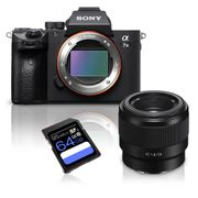 Kit-Camera-Sony-a7III-Mirrorless---Lente-Sony-FE-50mm-f-1.8-Full-Frame---Cartao-SDXC-64Gb-de-95Mb-s