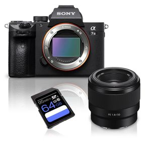 Kit-Camera-Sony-a7III-Mirrorless---Lente-Sony-FE-50mm-f-1.8-Full-Frame---Cartao-SDXC-64Gb-de-95Mb-s