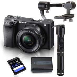 Kit-Sony-a6400-Mirrorless-com-Lente-16-50mm---Crane-M---Bateria-Extra---Cartao-SDXC-64Gb-de-95Mb-s