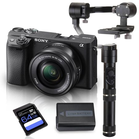 Kit-Sony-a6400-Mirrorless-com-Lente-16-50mm---Crane-M---Bateria-Extra---Cartao-SDXC-64Gb-de-95Mb-s