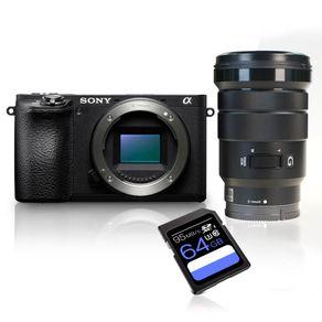 Kit-Camera-Sony-Alpha-A6500-E-mount-4K---Lente-Sony-PZ-18-105mm-f4-G---Cartao-SDXC-64Gb-de-95Mbs