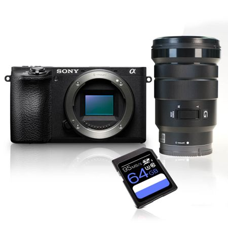 Kit-Camera-Sony-Alpha-A6500-E-mount-4K---Lente-Sony-PZ-18-105mm-f4-G---Cartao-SDXC-64Gb-de-95Mbs