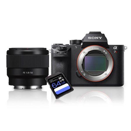 Kit-Sony-a7R-II-Mirrorless---Lente-Sony-50mm-Full-Frame--SEL50F18F----Cartao-SDXC-64Gb