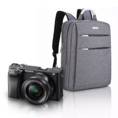 Kit-Sony-a6400-Mirrorless-com-Lente-16-50mm---Mochila-Profissional-a-Prova-D-Agua-e-Laptop