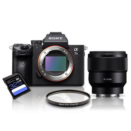 Kit-Sony-a7III-Mirrorless---Lente-Sony-FE-85mm---Filtro-UV-67mm---Cartao-SDXC-32Gb-de-95Mb-s