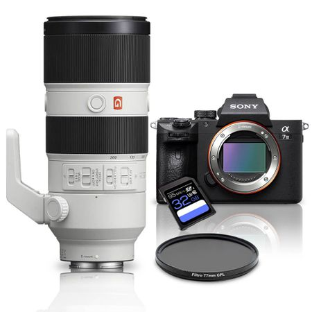 Kit-Sony-a7III-Mirrorless---Lente-Sony-FE-70-200mm-GM-OSS---Filtro-CPL-77mm---Cartao-SDXC-32Gb-de-95Mb-s