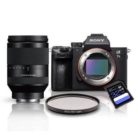 Kit-Sony-a7III-Mirrorless---Lente-Sony-FFE-24-240mm-OSS---Filtro-SkyLight-72mm---Cartao-SDXC-32Gb-de-95Mb-s