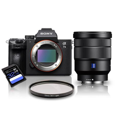 Kit-Sony-a7III-Mirrorless---Lente-Sony-FE-16-35mm-OSS-T----Filtro-SkyLight-72mm---Cartao-SDXC-32Gb-de-95Mb-s