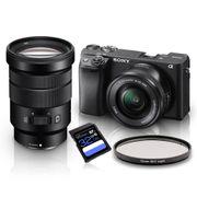 Kit-Sony-a6400-Mirrorless-4K---Lente-Sony-E-16-50mm-f-3.5-5.6-OSS-e-Lente-Sony-E-PZ-18-105mm-f-4-G-OSS--SELP18105G----Filtro-SkyLight-72mm---Cartao-SDXC-32Gb-de-95Mb-s