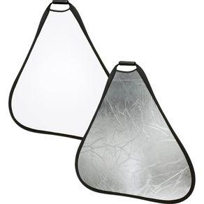 -Rebatedor-Triangular-2-em-1-Branco-e-Prata-de-110cm-com-Alca