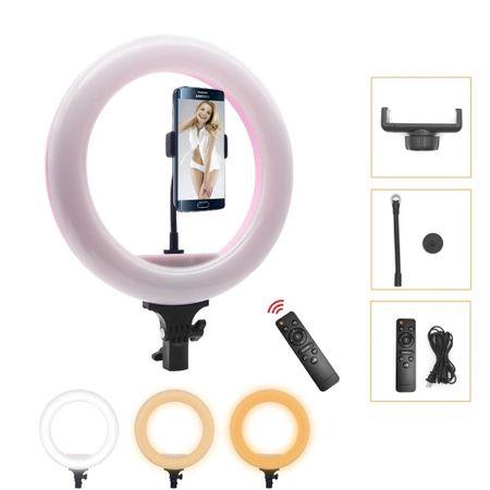 Iluminador-de-Led-Circular-12.6--40W-Bi-Color-Video-Ring-Light-32cm--Controle-IR-e-Fonte-