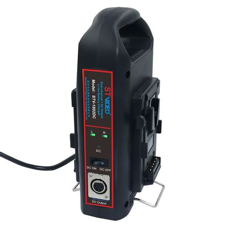 Carregador-Duplo-V-Mount-100W-STVideo-ST-1802DC-com-Saida-DC--Bivolt-