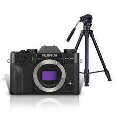Kit-Mirrorless-FujiFilm-X-T30-4K-Preta--Corpo----Tripe-Profissional-com-Cabeca-Semi-Hidraulica