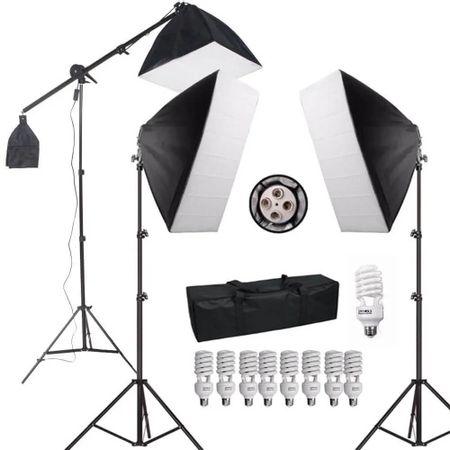Kit-de-Iluminacao-para-Estudio-Fotografico-com-Softboxes-Girafa-e-Tripes-de-Iluminacao--220V-