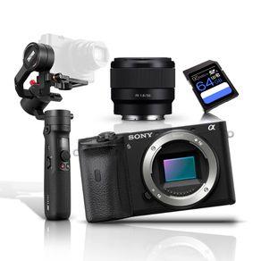 Kit-Sony-A6600-Mirrorless-4K---Lente-Sony-FE-50mm---Gimbal-Inteligente-Zhiyun-Crane-M2-e-Cartao-SDXC-64Gb-de-95Mb-s