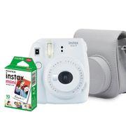 Kit-Camera-Instantanea-Fujifilm-Instax-Mini-9-Branco-Gelo-com-Bolsa-e-Filme