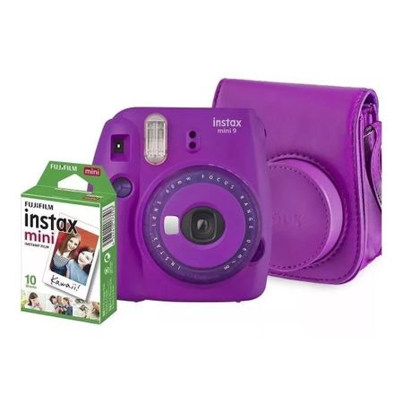 Kit-Camera-Instantanea-Fujifilm-Instax-Mini-9-Roxo-Acai-com-Bolsa-e-Filme