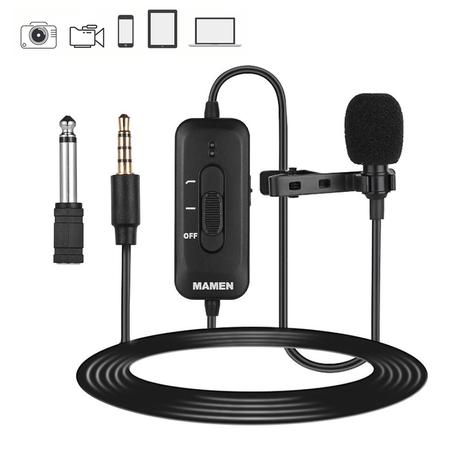 Microfone-de-Lapela-Profissional-Mamen-KM-D2-Bateria-Interna-para-Smartphones-Cameras-e-Notebooks