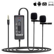 Microfone-de-Lapela-Duplo-Profissional-Mamen-KM-D2-Pro-Bateria-Interna-para-Smartphones-Cameras-e-Notebooks
