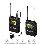 Sistema Wireless Microfone Lapela Mamen WMIC-01 Duplo Canal UHF com Transmissor e Receptor P2