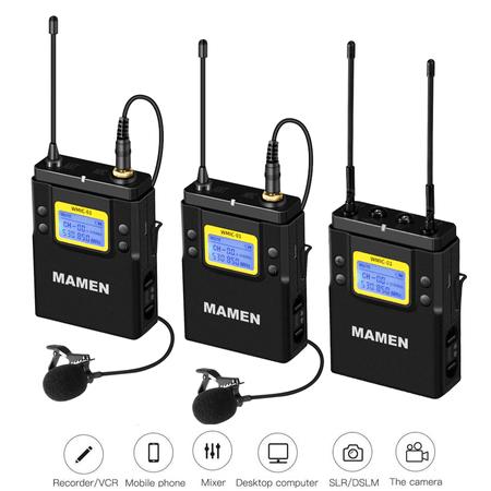 Sistema-Wireless-Duplo-Microfone-Lapela-Mamen-WMIC-01-Canal-UHF-com-2-Transmissores-e-1-Receptor-P2