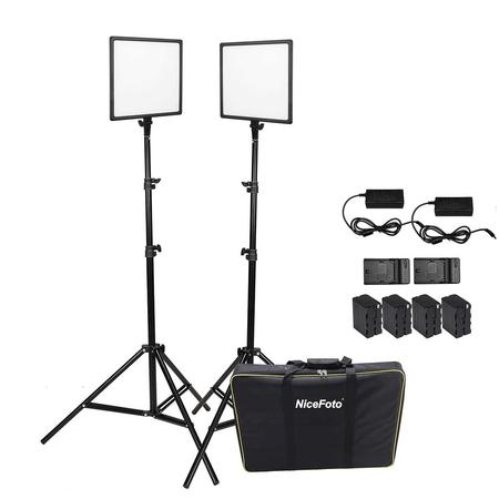 Kit-Iluminacao-Led-Super-Slim-NiceFoto-SL307-50W-de-3200-6500K-para-Estudio-Fotografico--Tripes-Baterias-e-Fonte-AC-Bivolt-