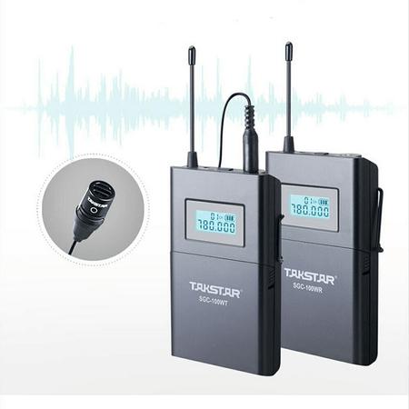Sistema-Microfone-Lapela-Sem-Fio-Takstar-SGC-100W-Wireless-UHF-para-Cameras-e-Filmadoras