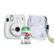 Kit-Camera-Instantanea-FujiFilm-Instax-Mini-11-Branca---Bolsa-Crystal---10-Filmes-Instantaneo