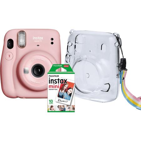 Kit-Camera-Instantanea-FujiFilm-Instax-Mini-11-Rosa---Bolsa-Crystal---10-Filmes-Instantaneo