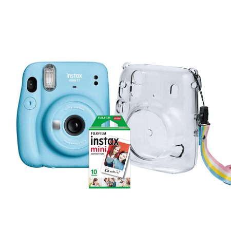 Kit-Camera-Instantanea-FujiFilm-Instax-Mini-11-Azul---Bolsa-Crystal---10-Filmes-Instantaneo