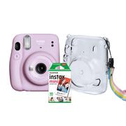 Kit-Camera-Instantanea-FujiFilm-Instax-Mini-11-Lilas---Bolsa-Crystal---10-Filmes-Instantaneo