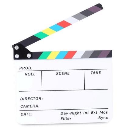 Claquete-Diretor-Clapper-Board-2.5-Acrilico-com-Varas-Coloridas--Branca-