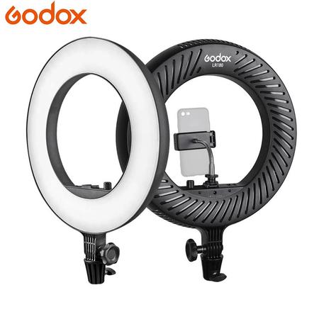 Iluminador-Led-Circular-Godox-LR180-14--Ring-Light-27w-com-Fonte-e-Suporte-de-Celular