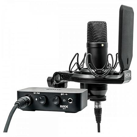 Kit-de-Estudio-Microfone-Rode-NT1-com-Interface-de-Audio-AI-1-e-Cabo-XLR