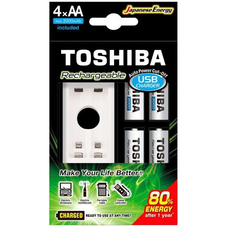 Carregador-USB-Toshiba-de-Pilha-AA-AAA-com-4x-Pilhas-AA-Recarregavel-de-2000mAh