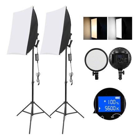 Kit-de-Iluminacao-LED-Soleste-YD601-Studio-Light-Bi-Color-48W-Softbox-50x70cm---Tripe-2m--Bivolt-