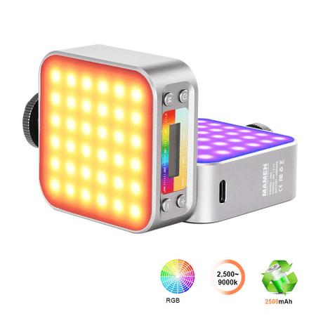 Iluminador-Led-Video-Light-RGB-LED-01-Dupla-Face-5W-Compacto-para-Cameras-e-Filmadoras